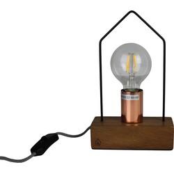 Huis Lamp-15x25cm-incl. gloeilamp-Metaal / Hout-Housevitamin
