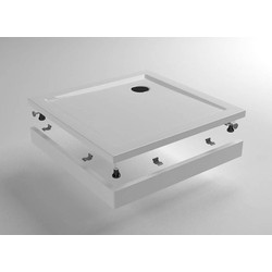 Saqu Voorzetpaneel met poten voor vierkante douchebak 90x90x4 cm Wit
