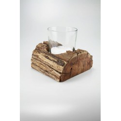 Windlicht hout (fair trade) incl. glas