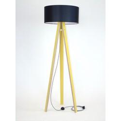 Lamp Wanda geel multiplex met zwarte kap en zig zag kabel