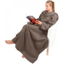 Fleece deken met mouwen grijs