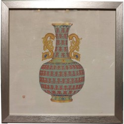 Fine Asianliving Chinese Schilderij Geel en Blauw met Draken Handvat