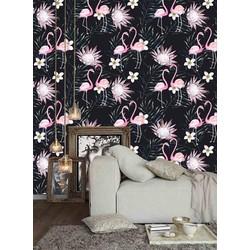 Vliesbehang Flamingo zwart 60x244 cm