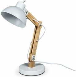 Lanterfant® Lamp Martijn - Bureaulamp - Hout- Staal - Wit