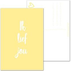 Ik lief jou - Ansichtkaart wenskaart - Geel - DesignClaud
