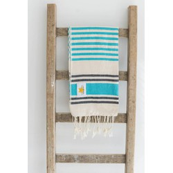 Mycha Ibiza - hamamdoek – streep – lichtblauw – 100% handgeweven katoen