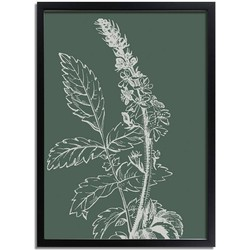 Vintage bloem blad poster Designclaud - Puur Natuur Botanical - Groen - A3 + Fotolijst zwart
