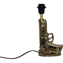 Gouden Pistool Lamp incl zwart/wit streep kap-30x46cm-Keramiek-Zwart-Housevitamin