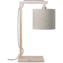 Tafellamp Himalaya bamboe, linnen donker