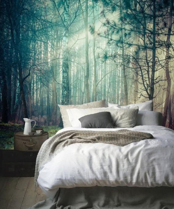 Zelfklevend behang XL Bomen met zon -