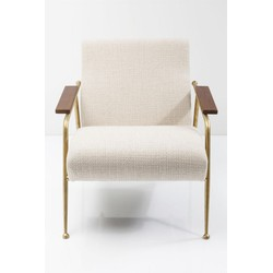 Kare Design - Fauteuil Topogan - Beige Stof - Messing Frame