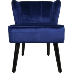 Cocktail chair Estelle - velours - donkerblauw