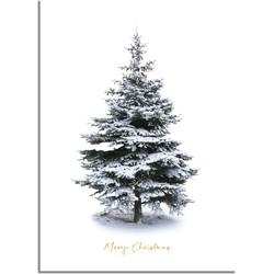 Kerstposter Merry Christmas Kerstboom - Goudfolie  - A3 + Fotolijst wit