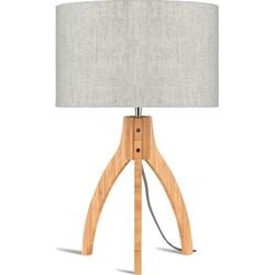 Tafellamp bamboe Annapurna, linnen licht