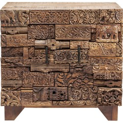 Kare Design - Commode Kast Shanti Surprise Puzzle 2-Deurs Nature - Mangohout