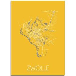 Zwolle Plattegrond poster Geel - A4 poster zonder fotolijst