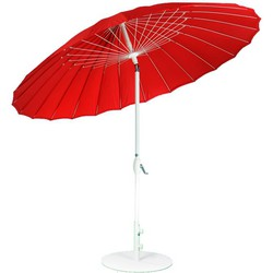 SORARA Shanghai Parasol – Rood – Ø 260 cm - Slinger- en Knikmechanisme – Rond