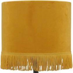 Lampenkap geel velvet franje 20x20x15cm