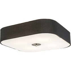Ceiling Lamp Drum Deluxe 50 Square Jute Black