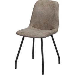 Wax PU - Stoelen - set van 4 - kuip - donkerbruin - poten platte buis-  zwart gepoedercoat - 45x55x86cm