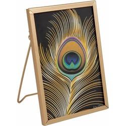 Fotolijst metaal 'pauw' goud 10x15 cm