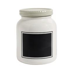 Nordal voorraadpot wit met krijtbord 15x15x20 cm