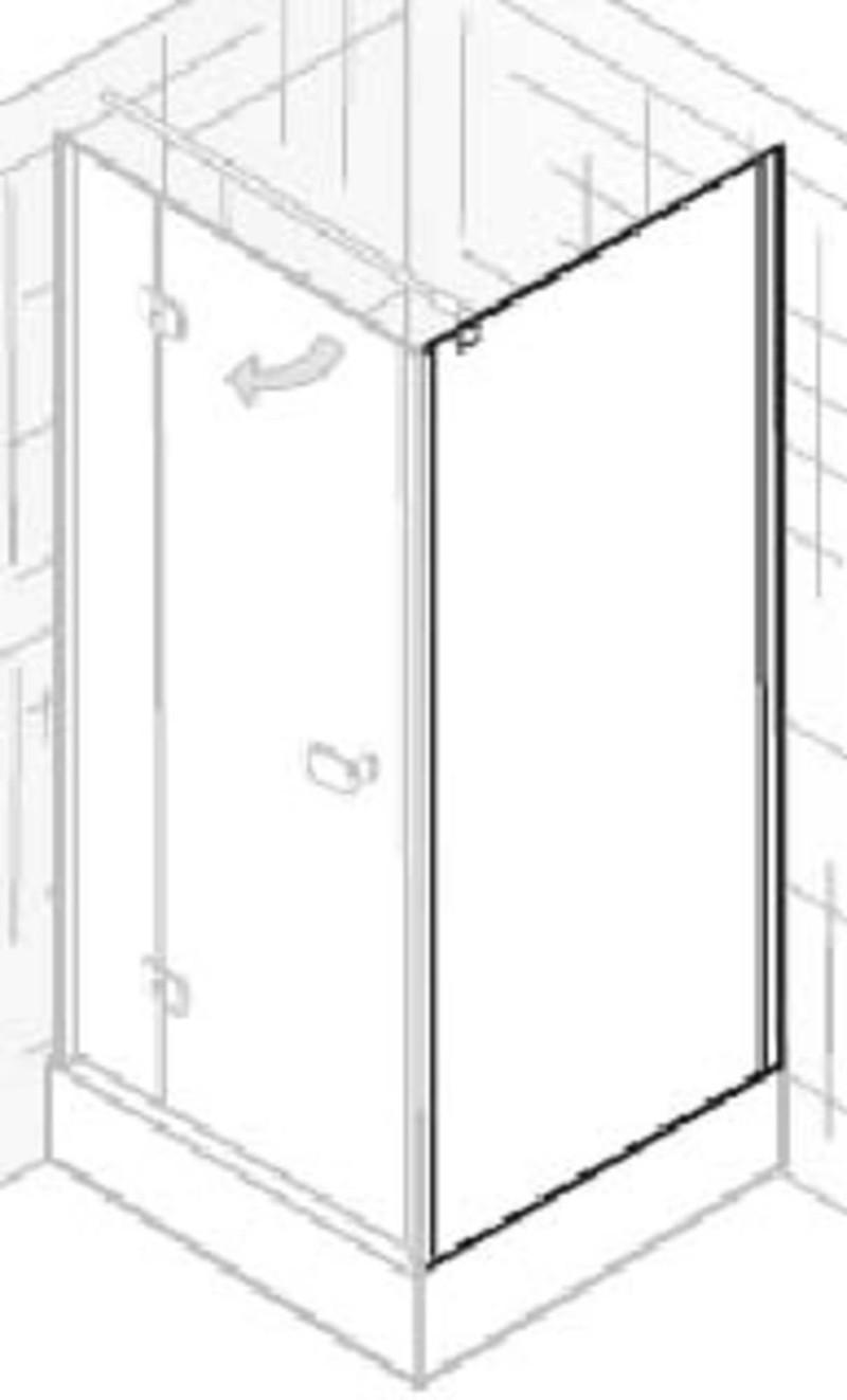 Ben Martino Soft Zijwand 90x200cm Chroom / Helder Glas -