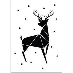 Rendier - Abstract - Kerst Poster - Tekst poster - Zwart Wit poster - A3 poster zonder fotolijst