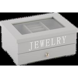Juwelen doos klein Avantgarde grijs met zilveren letters