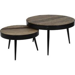 Recycled - Salontafels - set van 2 - rond - dia 75 & 55 cm - massief gerecycled hardhout - metalen rand en poten