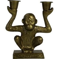 Aap Kandelaar 'Sitting Monkey'-12x15cm-Incl. 5 witte kaarsen-Polyresin-Goud-Housevitamin