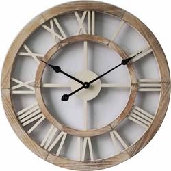 Houten open ronde klok wit 60cm - bol.com