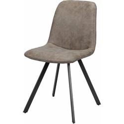 Wax PU - Stoelen - set van 4 - kuip - donkerbruin - poten platte buis - zwart gepoedercoat - 45x55x86cm