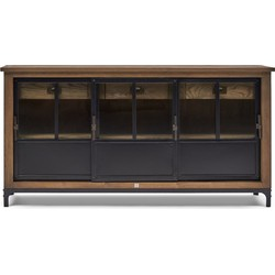 Rivièra Maison The Hoxton Dresser - Dressoir - Gerecyceld Essenhout/Ijzer/Glas - Zwart