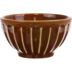HK-living schaaltje gestreept bruin kyoto keramiek