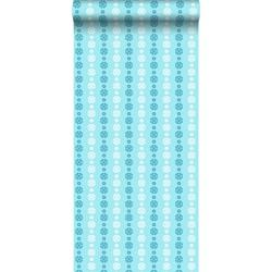 ESTAhome behang kant-motief turquoise en wit