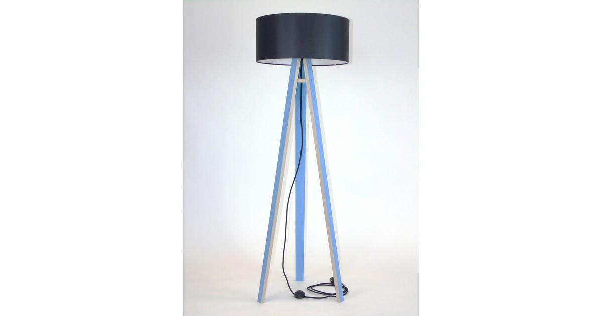 Lamp Wanda blauw multiplex met zwarte kap en zwarte kabel
