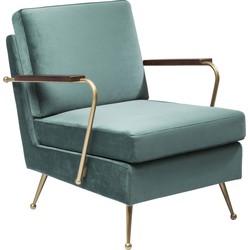 Kare Design Fauteuil Gamble - Fluweel Stof - Blauw