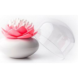 Qualy Lotus Wattenstaafjeshouder 8,3 cm - Wit/roze