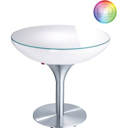 Moree - Ronde Eettafel Lounge - Hoogte 75 Cm LED Accu Outdoor - Wit