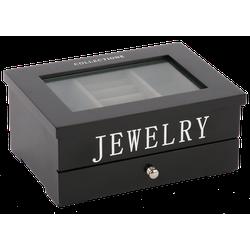 Juwelen doos klein Avantgarde zwart met zilveren letters