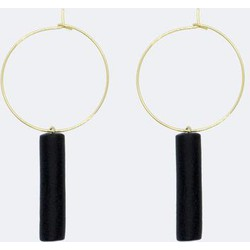 Gold Hoop Earrings - Black Bar Pedant