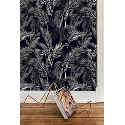 Zelfklevend behang Palmblad zwart wit 60x122 cm