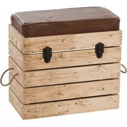 Industry - Koffer - hout - met zitkussen - kunstleder - bruin - 55x30x53cm