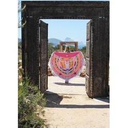 Mycha Ibiza – roundie –  rond strandlaken – cow skull – gekleurd – 100% katoen – badstof