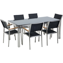 Tuinset glas/RVS zwart enkel tafelblad 180 x 90 cm met 6 stoelen zwart GROSSETO