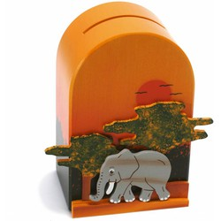 Spaarpot 3D Olifant Hout  - Weizenkorn