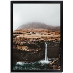 Faroer eilanden poster DesignClaud - Waterval - Natuur- A2 + fotolijst zwart