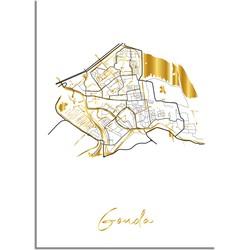 Gouda Plattegrond Stadskaart poster met goudfolie bedrukking - A4 + Fotolijst zwart