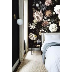 Zelfklevend behang donkere bloemen 250x250cm